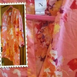 Natori Tunic Blouse Peach Orange Floral Medium